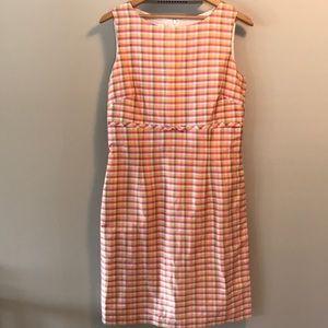 Talbots silk pastel check sleeveless sheath dress